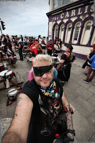 Dean Thorpe with Section 5 Drummers at Pirate Day