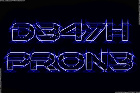A glowing sketched version of my D347H PR0N3 text logo