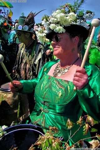 Section 5 Drummers taking part in Hastings Jack in the Green, Mayday 2013