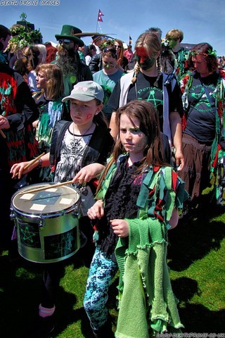 Pentacle Drummers up on West Hill at Hastings Jack in the Green
