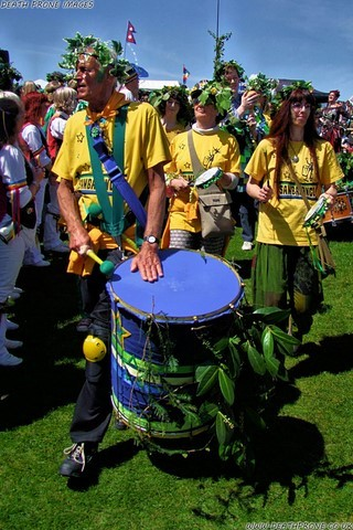 Sambalanco Drummers up on West Hill at Hastings Jack in the Green