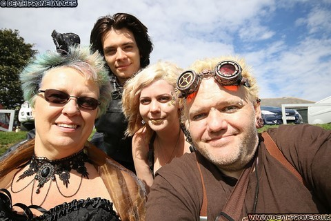 ​Myself, my partner Helen, my daughter Joanne and her fiance Aaron at the Hastings Steampunk Extravaganza, 2018