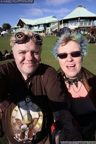 My wonderful partner Helen and myself at the Hastings Steampunk Extravaganza, 2018